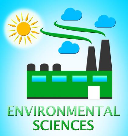 Environmental Sciences Factory Represents Eco Science 3d Illustration