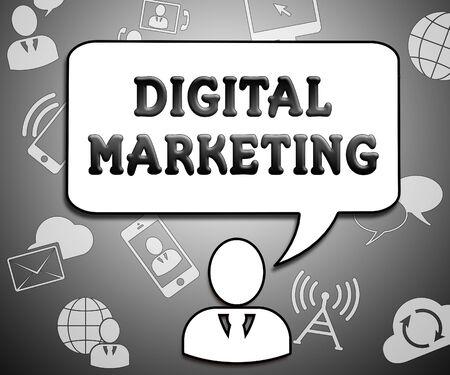 Digital Marketing Icons Showing Market Promotions 3d Illustration