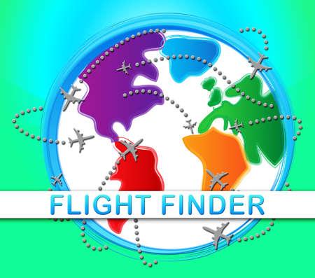 Flight Finder Globe Indicating Flights Research 3d Illustration