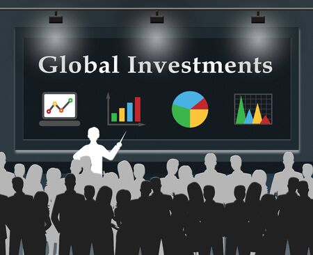 global investing: Global Investments Meaning Worldwide Investing 3d Illustration Stock Photo