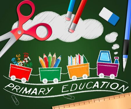Primary Education Picture Meaning Child Studying 3d Illustration Stock Photo