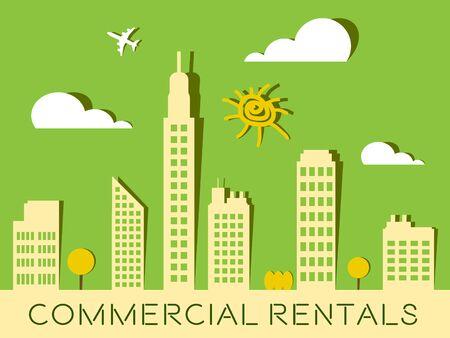 Commercial Rentals Skyscrapers Represents Real Estate Buildings 3d Illustration