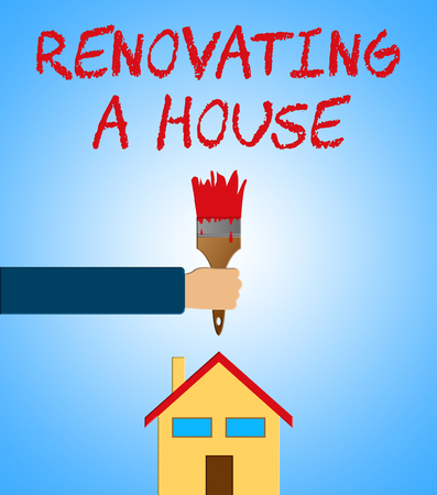 Renovating A House Paintbrush Meaning Home Renovation 3d Illustration
