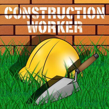 labourer: Construction Worker Builders Hat Represents Building Laborer 3d Illustration