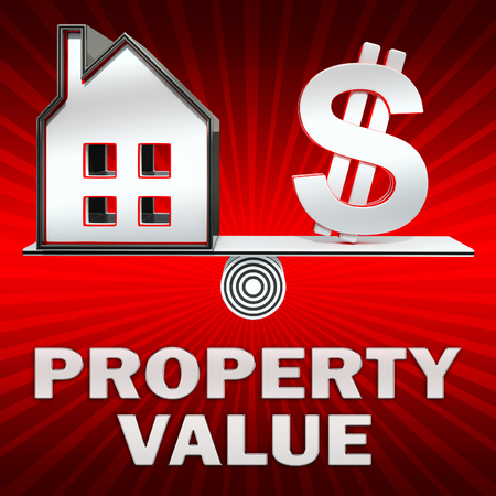 Property Value Dollar Sign Displays House Prices 3d Illustration