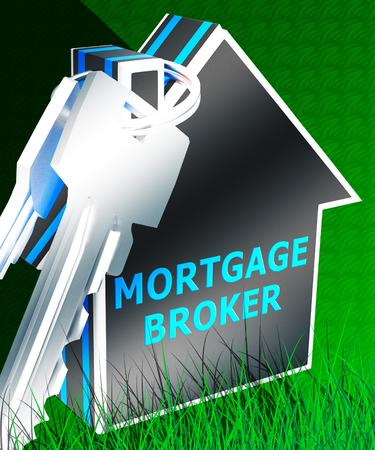 middleman: Mortgage Broker Keys Displays Home Loan 3d Rendering