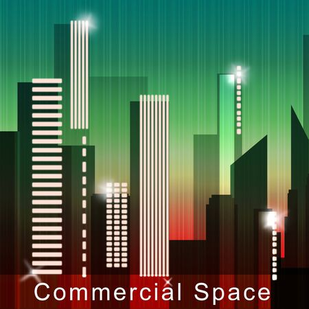 Commercial Space Skyscrapers Means Real Estate Sale 3d Illustration Stock Photo