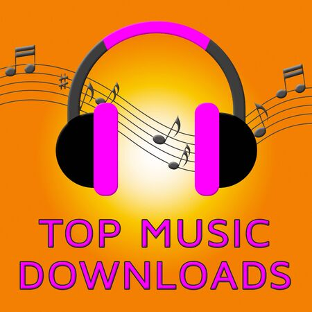 Top Music Downloads Earphones Means Downloading Files 3d Illustration