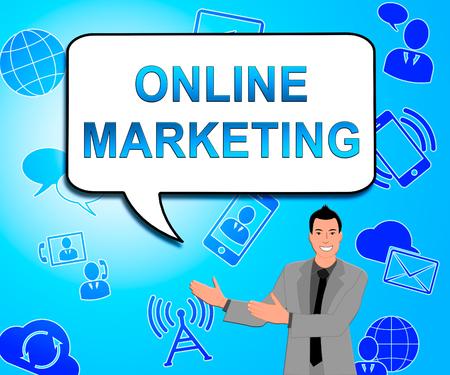 Online Marketing Icons Represents Market Promotions 3d Illustration