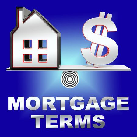 borrowing: Mortgage Terms House Representing Housing Loan 3d Rendering