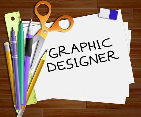 Grafische Ontwerper die het Ontwerp van Job 3d Illustration vertegenwoordigt