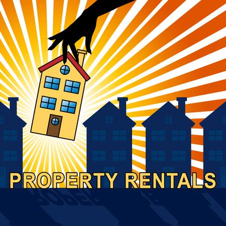 for rental: Property Rentals House Showing Real Estate 3d Illustration