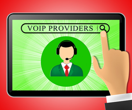 Voip Providers Tablet Representing Internet Voice 3d Illustration Stock Photo