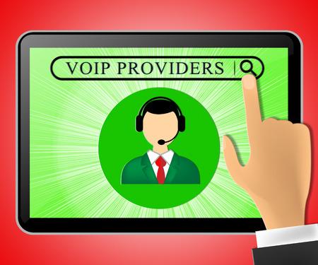Voip Providers Tablet Representing Internet Voice 3d Illustration 版權商用圖片
