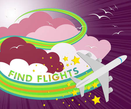 Find Flights Plane Showing Flight Searching 3d Illustration Stock Photo