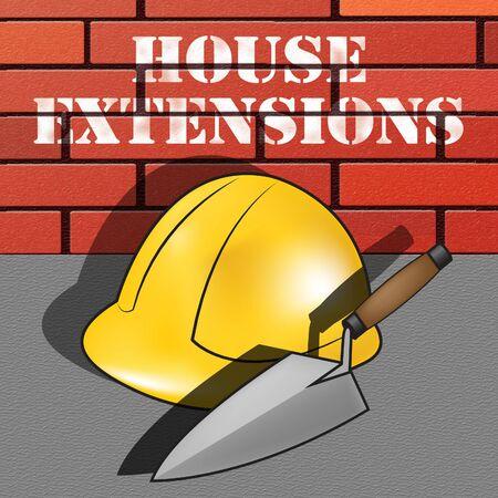 House Extensions Builder Hat Represents Extend Home 3d Illustration Stok Fotoğraf