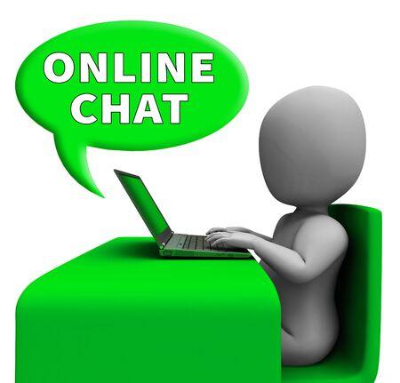 Online Chat Man met Laptop Betekent Internet Berichten 3D-rendering