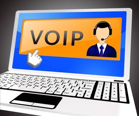 Voip Laptop Showing Internet Voice 3d Illustration