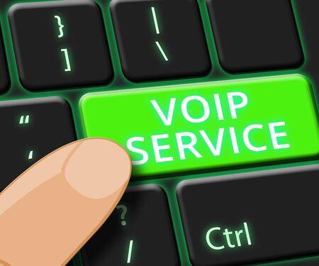 Voip Service Key Showing Internet Help 3d Illustration Reklamní fotografie