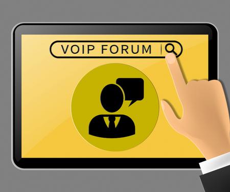 Voip Forum Tablet Represents Internet Voice 3d Illustration