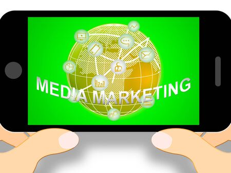 emarketing: Media Marketing Mobile Phone Representing News Tv 3d Illustration Stock Photo