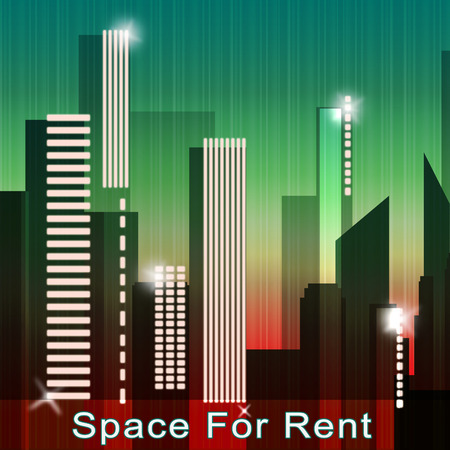 for rental: Space For Rent Skyscrapers Means Real Estate Leases 3d Illustration
