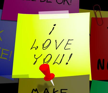 あなたのメモが表示されますあなたの心を愛する愛 3 d イラストレーション 写真素材