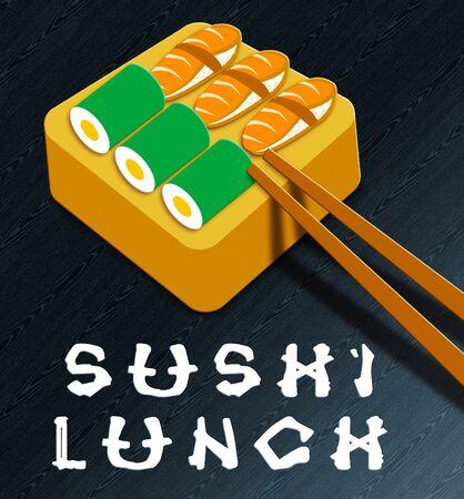 Sushi Lunch Assortment Showing Japan Cuisine 3d Illustration
