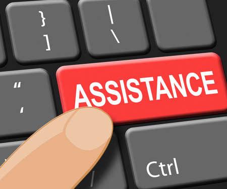 Assistance Key Showing Online Help 3d Illustration