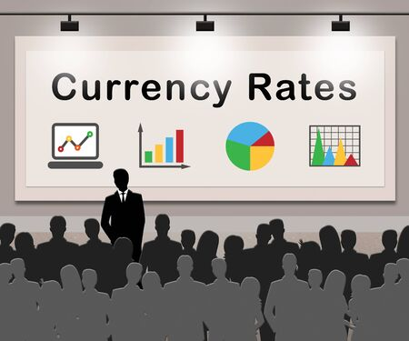 foreign exchange: Currency Rates Indicating Foreign Exchange 3d Illustration