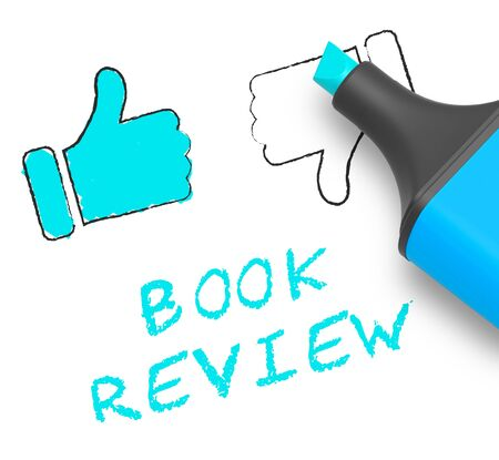 critique: Book Review Thumbs Up Displays Reviewing Fiction 3d Illustration Stock Photo