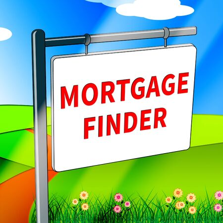 finders: Mortgage Finder Representing Loan Search 3d Illustration Stock Photo