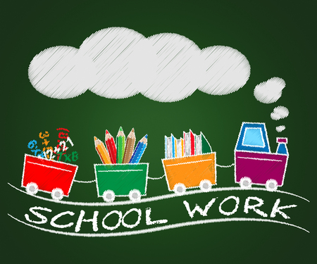 School Work Train Means Lesson Assignment 3d Illustration Фото со стока