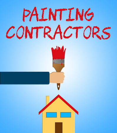 Painting Contractors Paintbrush Meaning Paint Contract 3d Illustration Stock Photo