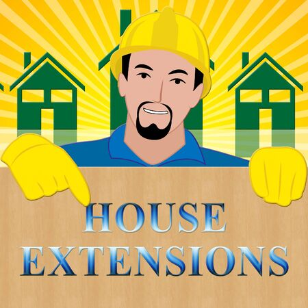 House Extensions Meaning Extend Home 3d Illustration
