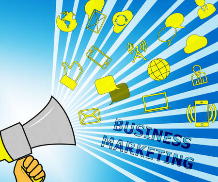 Business Marketing Icons Representing Company SEM 3d Illustration
