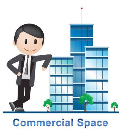 Commercial Space Buildings Describing Real Estate 3d Illustration Stock Photo
