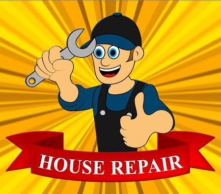 House Repair Man Displaying Fixing House 3d Illustration