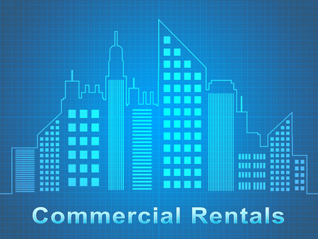 Commercial Rentals Skyscrapers Represents Real Estate Offices 3d Illustration