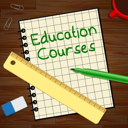 Education Courses Notebook Represents Course 3d Illustration