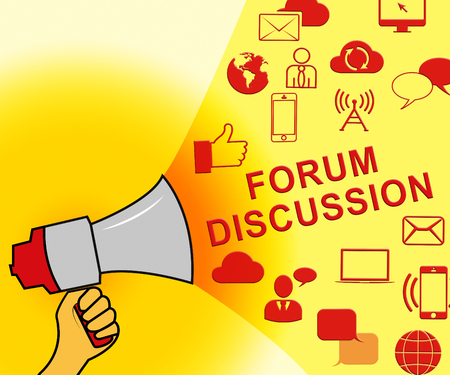 discussion forum: Forum Discussion Icons Represents Community 3d Illustration Stock Photo