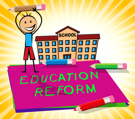 Education Reform Paper Displays Changing Learning 3d Illustration