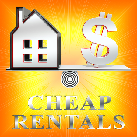 rentals: Cheap Rentals House Means Low Cost 3d Rendering Stock Photo