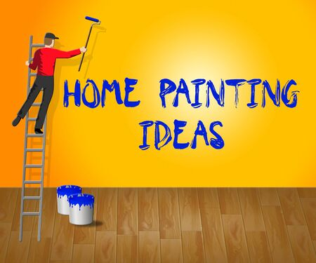 Home Painting Ideas Showing House Paint 3d Illustration