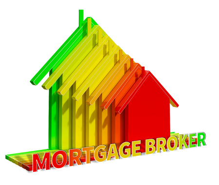 borrowing: Mortgage Broker Eco House Displays Home Loan 3d Illustration