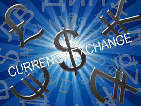 Currency Exchange Symbols Means Forex Rate 3d Illustration Stock