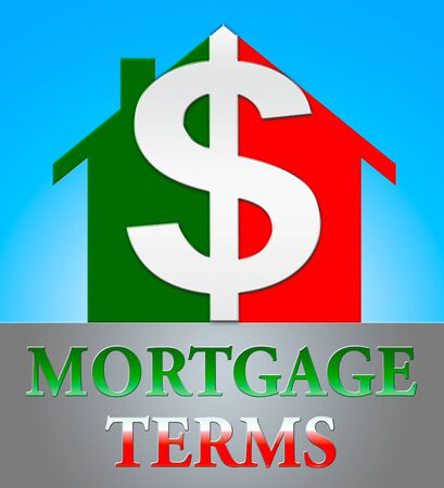 Mortgage Terms Dollar Icon Representing Housing Loan 3d Illustration