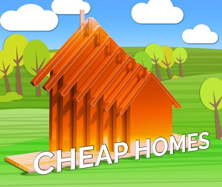 Cheap Homes Houses Means Real Estate 3d Illustration