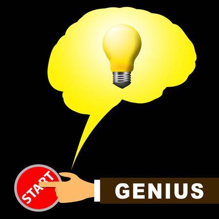 Genius Brain Meaning Specialist And Guru 3d Illustration