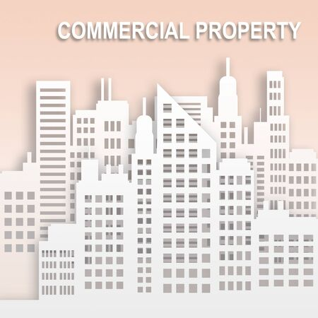 Commercial Property Skyscrapers Represents Office Property 3d Illustration Stock Photo